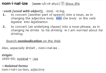 nominalize define it and use it in a sentence